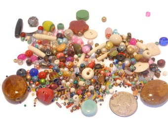Bead mixed lot, 3.6 ounce, glass ceramic wood, some bone some plastic, cultured pearls, from seed beads to 30mm X 20mm