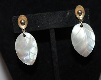 Vintage Mother of Pearl Leaves - Clip on Earrings