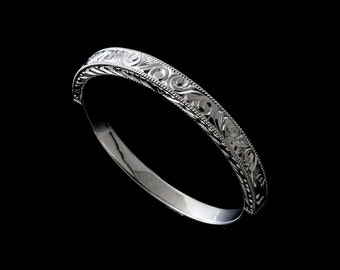 Scroll Engraved Wedding Ring, Art Deco Wedding Band, Taper 2.3mm Flat Wedding Ring,Half Way Straight Women's Wedding Ring, Gold Wedding Ring