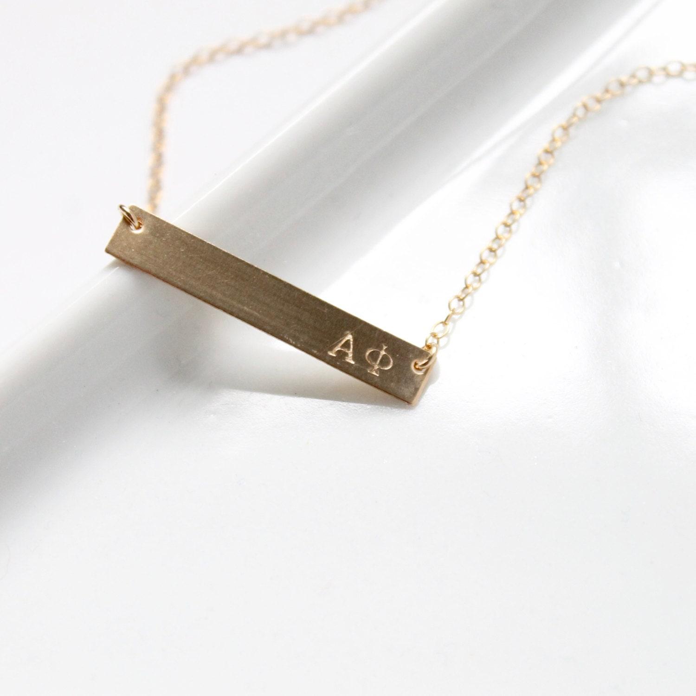 Alpha Phi Sorority Necklace Greek Jewelry Hand Stamped Bar