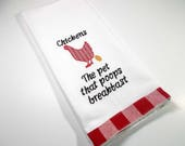 Embroidered Towel - Kitchen Towel - Funny Chicken Towel - Hand Towel - 10 dollar gift– Kitchen Décor – Chicken lover gift - Funny gift