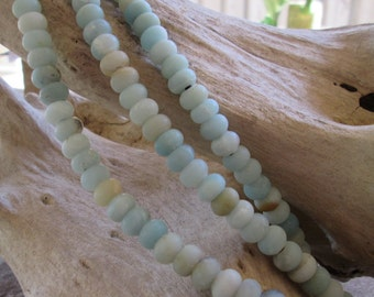 Matte Amazonite Large Hole Bead 8MM Rondelle Big 2.5mm Hole Fit Leather approx. 36-38 Blue beads