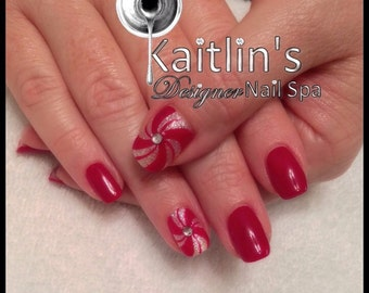 Bling Hand-Painted Peppermint Candy Gel Artificial Nail Art