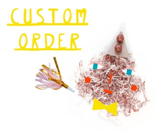 Custom Listing for Ina: Linen Party Hat with sparkly glitter pom poms - design your own party hat, birthday hat