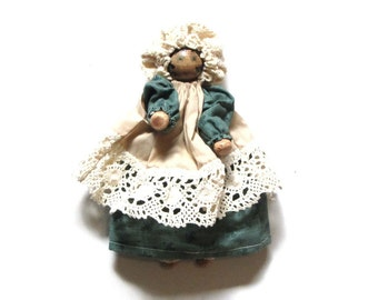 Vintage Clothespin Doll Gingham Dress Folk Art Country Jointed Girl With Pinafore and Bloomers