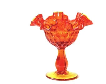 Fenton Amberina Ruffled Thumbprint Compote Dish Orange and Amber Pedestal Bowl Candy Mints Sugar Cubes Nuts
