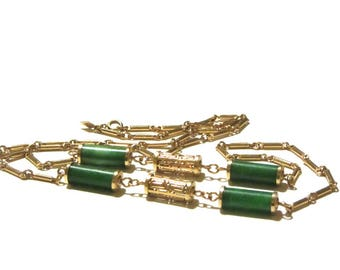 Sarah Coventry Oriental Lanterns Gold and Jade Lucite Barrel Bead and Chain Opera Length