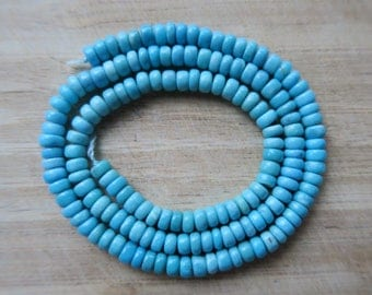 """RESERVED for Shelley ~ Beautiful ROBINS Egg BLUE Mexican Nacozari Turquoise Rondelle Beads, 4mm, 16"""" Strand"""