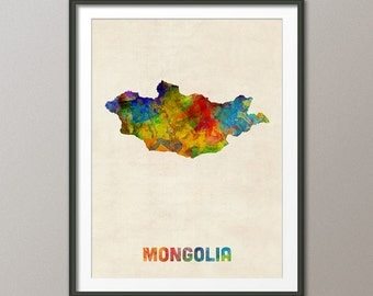 Mongolia Watercolor Map, Art Print (2726)