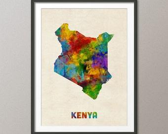 Kenya Watercolor Map, Art Print (2729)