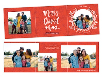 INSTANT DOWNLOAD - 5x5 Christmas Accordion Card Photoshop Template - E1418