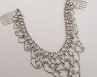 Pearl & rhinestone wedding headpiece, Bridal accessory hair chain, Bridal hair jewelry, Boho Bridal headpiece for back of the head,