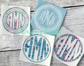 Lilly Inspired Monogram Vinyl Decal - Car Decal - Laptop Decal - Tumbler Decal
