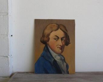 Vintage French School Portrait Painting // Gainsborough 1949 // Signed