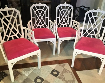 Set of Four Pagoda Arm Chairs-Chinese Chippendale, Hollywood Regency,Chinoiserie-Local Pick Up