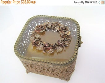 Gold Ormolu Jewelry Box - Square Shaped - Beveled Glass Display