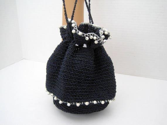 Crocheted Purse - Navy White Beads -  Hand Beaded Prom Wedding