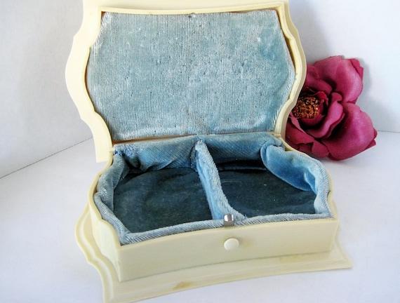 Celluloid Jewelry Box - Art Deco Vanity - Signed Dubarry - French Ivory Presentation Box