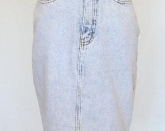 20% OFF SALE 80's Vintage Denim Skirt, Jordache Jeans Skirt, Pencil Skirt