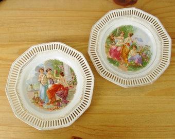 1970s Dresden Porcelain Plates Continental Decorative Home Decor European Romanticism Barvarian
