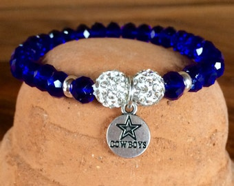 Stretch #DallasCowboys themed bracelet. Yoga bracelet with metallic blue glass faceted crystal and pave rhinestone disco ball beads