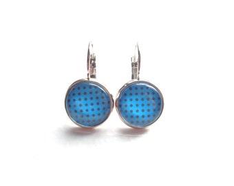 Polka Dot Earrings, Dangle Earrings, Drop Earrings, Turquoise Earrings, Black Earrings, Silver Earrings, Gift For Her