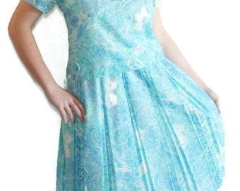 On Sale 60s Dress Carol Brent 2 pc. Cotton Voile Blue Floral Paisley Mad Men