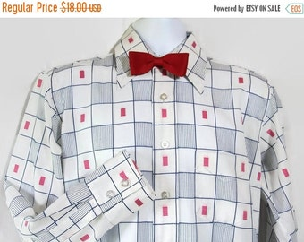 40%OFFSALE 70s Shirt / Checked / Geometric / Blue / Embroidered / Pink / Retro Man