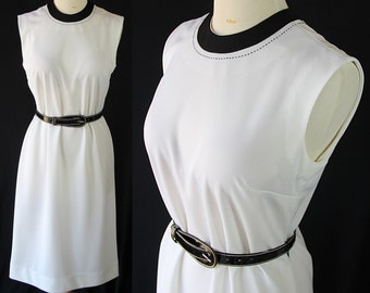 ON SALE 70s Nelly Don Dress, White Black, Office Fashion