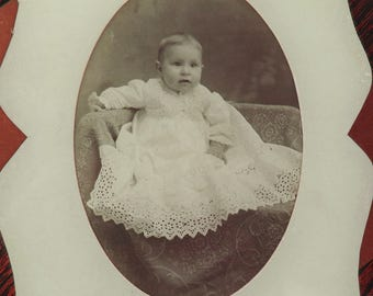 Antique Photograph under glass- Victorian baby boy in Christening gown- Large - 9 by 9 inches- Vintage portrait