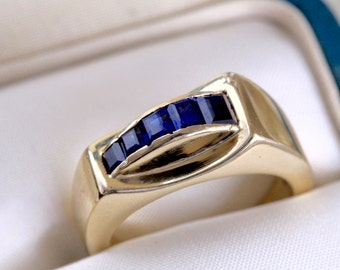 Antique Tiffany Sapphire Ring, 1930s Tiffany & Co Ring Original Box, 14k Yellow Gold Alternative Engagement Ring, Wedding Anniversary Ring