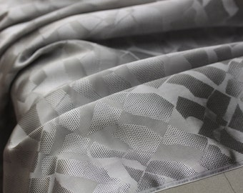 """100%  silk Jacquard fabric - silver geometric designs 39.3"""" - fashion fabric for dresses, skirt, outfits - list for 1 yard"""