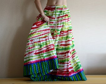 Multicolor Long skirt - Maxi Skirt - Stylish Long skirt - fashionable - Gypsy Skirt - Peasant Skirt - Green multicolored skirt