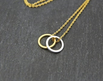 18K Gold/Silver Plated Double Circle Necklace Jewelry Stainless Steel Necklace Valentines gift