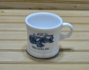 Vintage Surrey Milk Glass Shaving Mug Mercedes 1927 Car Antique Car Made in USA 1970s Collectible Prop Man Gift