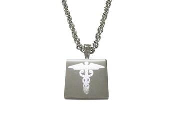 Silver Toned Etched Caduceus Medical Symbol Pendant Necklace
