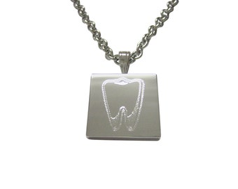 Silver Toned Etched Tooth Necklace