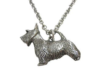 Silver Toned Textured Scottish Terrier Dog Pendant Necklace