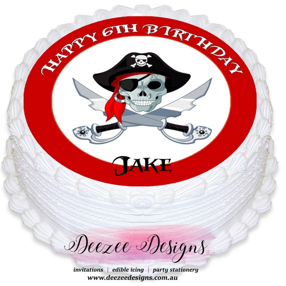 Edible Cake Images Pirate : Pirate Skull Round Edible icing Cake Topper - PRE-CUT by ...