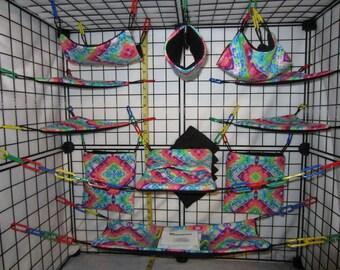 17  Pc  - Diamond Tie Dye - Sugar Glider Cage Set