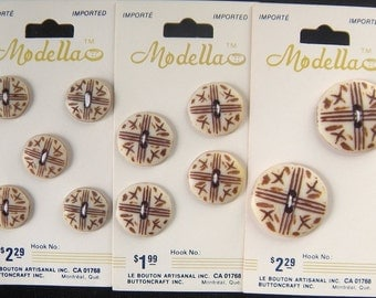 1 Card Tribal Style Faux Bone Buttons, Choose Size 15, 19 or 25 mm, Carved, Brown Criss Cross Markings, 2 holes, Modella Brand Vintage