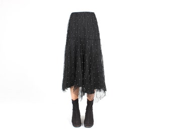 80s AVANT GARDE - 3D PEARL Encrusted Origami Mesh Ruffle Textured High Waist Minimal Black Full Skirt - So Unique