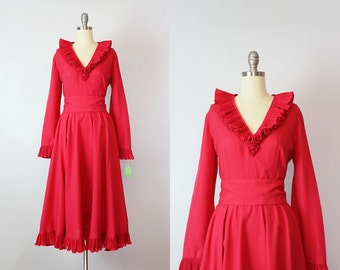 vintage 70s dress / 1970s VICTOR COSTA dress / bright fuschia pin dress / deadstock ruffled party dress / ruffle collar dress