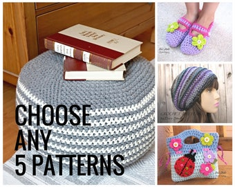 Choose ANY 5 PATTERNS, Crochet Pattern PDF,Easy, Great for Beginners