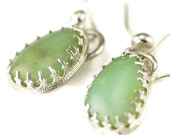 Crysoprase Earrings - Sterling Dangle Earrings - Green Stone