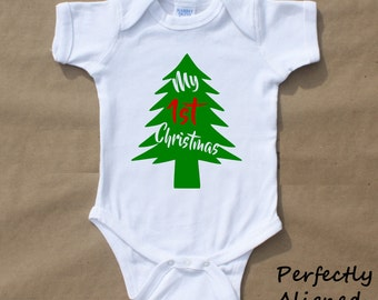 My 1st Christmas Infant Bodysuit or T-Shirt  - Christmas gift - Baby Shower Gift - Baby PJs  - Holiday Outfit - Newborn Outfit