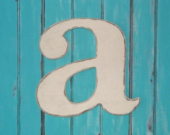 Wooden Lowercase Letter a Distressed Wood letters 24 Inch Letters  Guest Book Photo Props
