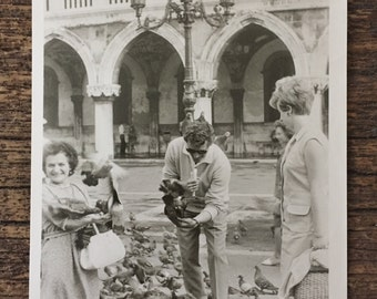 Original Vintage Photograph Birds in the Square