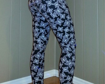 Extra Small. Mid Rise Yoga Pants, Running Leggings, Yoga tights. Black with white polka dot butterflies running tights.