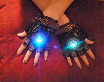 Men's LED Steampunk Gloves- Moonhoar, Comic Con, Apocalypse, Mad Max, Dieselpunk, Burning Man, Thunderdome, Sci Fi, Guardians Galaxy